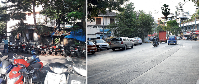 (Left) The situation in September; (Right) The road after the bikes were removed