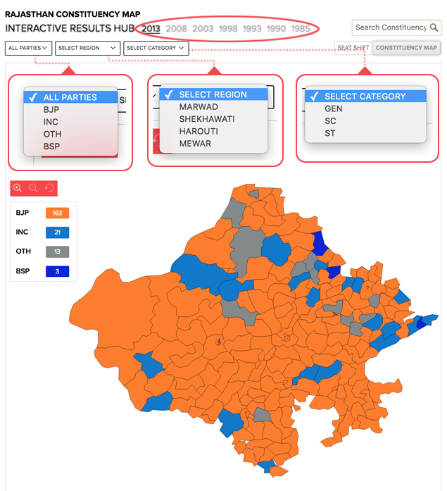constituency map with drop downs