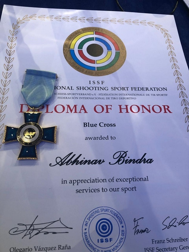 The certificate awarded to Abhinav Bindra