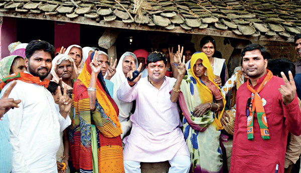 Vasundhara Raje's son and local MP Dushyant Singh campaigns for his mother in her absence in the constituency (PICS: MAQSOOD AHMAD)