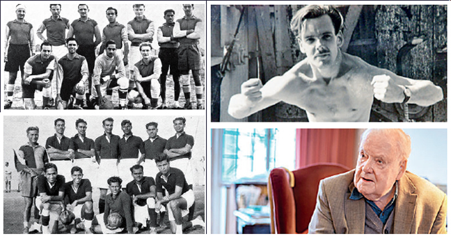 Teams of Petroleum Development (Qatar) and Northern Area Sports Club Football (Dukhan); Tom Clayton in 1948 and now in his 90s