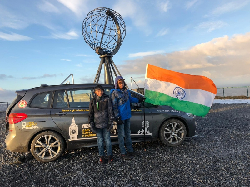 Priyam and Aarush at the Artic Circle