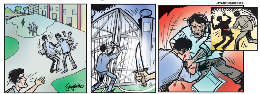 Last week, Rakesh rushed to his friend Nithin's help while he was being assaulted by Goutham and his friends; they locked the college gate and started attacking Rakesh. They even stabbed him before fleeing. But the college principal maintains the incident took place outside campus