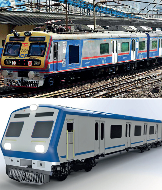 Each compartment of the latest AC local (model image above) has been fitted with 30-tonne air-conditioner. (Top) Mumbai's first AC local was introduced last Christmas