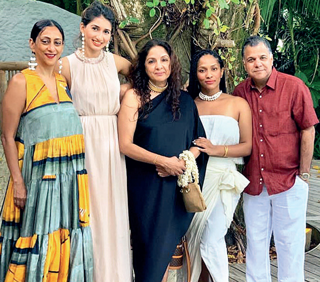 Neena and Masaba Gupta (centre), with Raj Nayak and his family