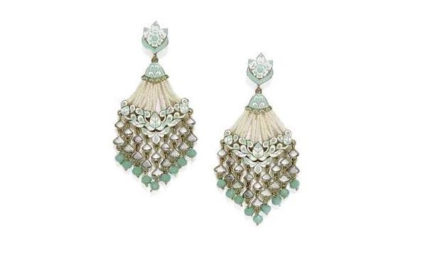 Zaveri Pearls Gold Tone Earrings With Pearls & Meenakaari