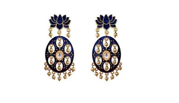 Designer Meenakari Lotus Shape Kundan Earring