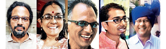 THE ARRESTED ACTIVISTS: (From left) Rona Wilson, Shoma Sena, Sudhir Dhawale, Mahesh Raut and Surendra Gadling