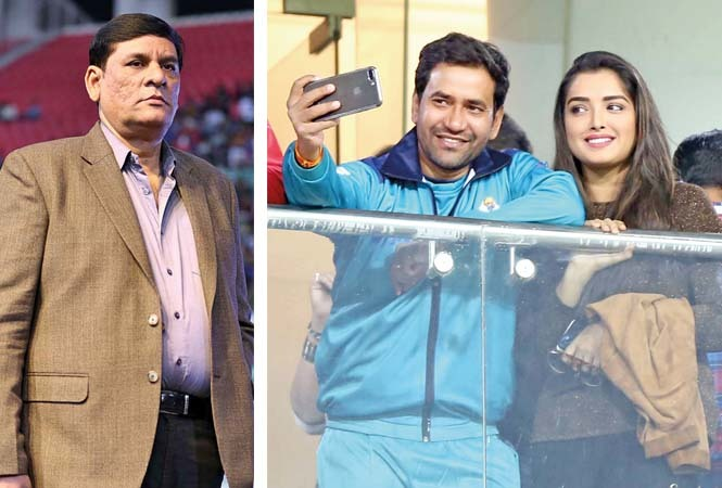 (L) Uday Sinha (R) Dinesh Lal Yadav Nirahua and Aamrapali Dubey (BCCL/ Aditya Yadav)
