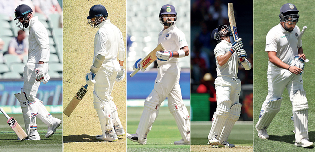 KL Rahul edged to slips, M Vijay edged to keeper, Virat Kohli edged to gully, Ajinkya Rahane edged to slips, Rohit Sharma top-edged a slog-sweep