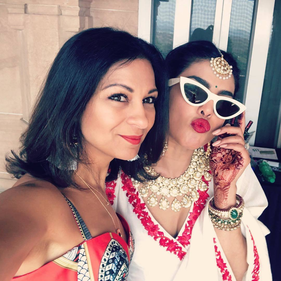 Priyanka during the wedding celebrations with manager Anjula Acharia (Source: Instagram)
