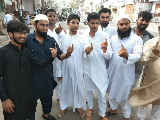 First time voters cast their vote in Charminar segment