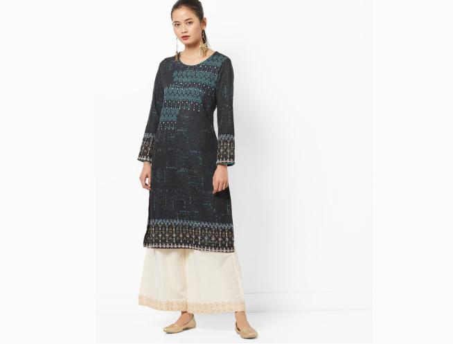 Biba Straight Kurta with Patterned Weave