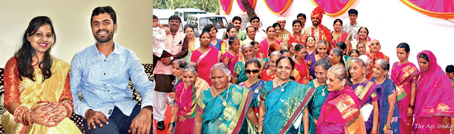 Bride Shraddha Sethia and groom Amit Rathi, both IT professionals, tied blindfolds for the saat pheras and varmala ceremonies; as many as 45 of the ashram's visually challenged, aged residents danced in the baraat and blessed the couple's nuptials