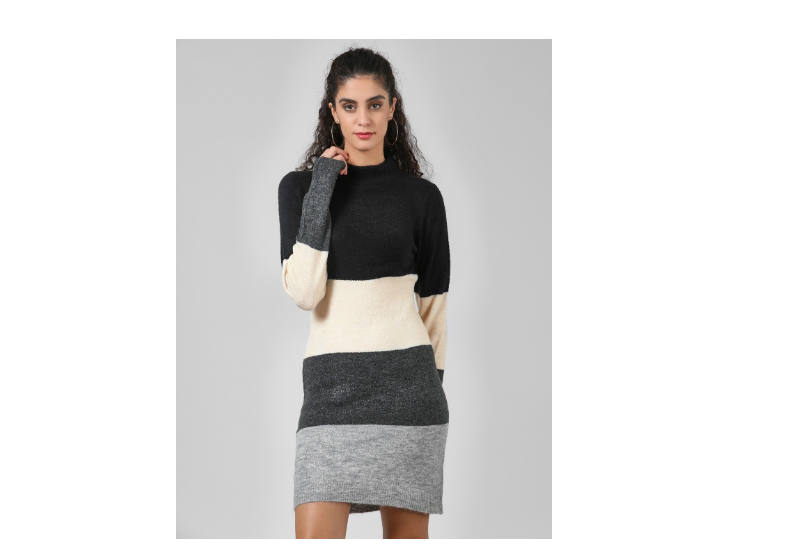 Funnel neck colored block dress by Koovs