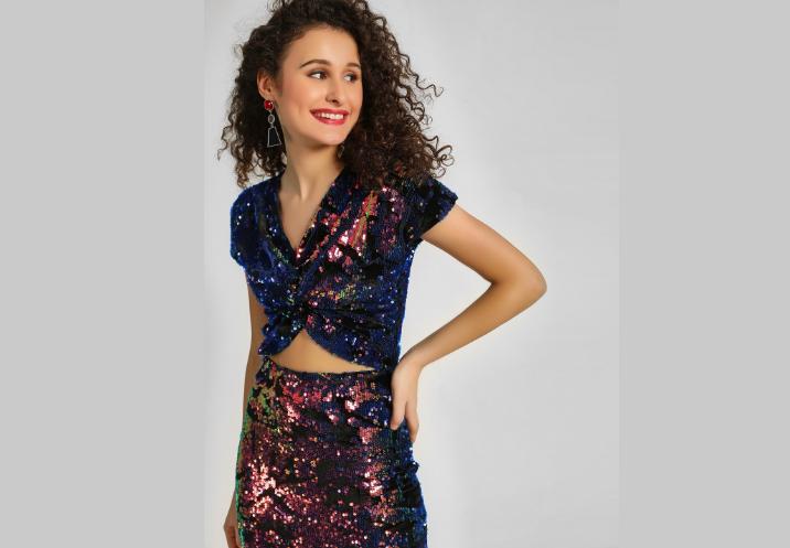 Koovs Multi colour Sequin Crop Top