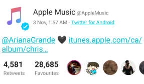 Official Apple Music Twitter account uses an Android phone
