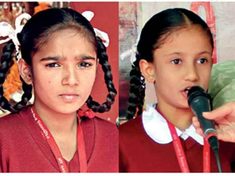 Suhana Ghanchi and Mahenur Sheikh (R) received cash and the Gita as prizes; PICS: NILKANTH DAVE