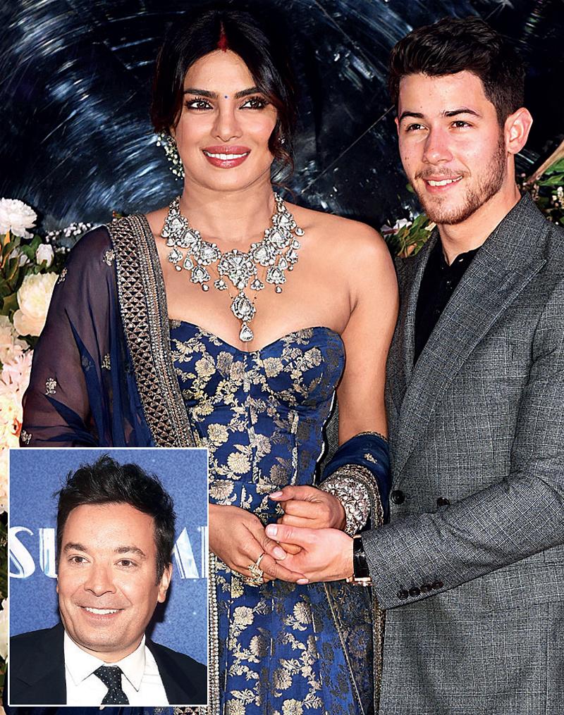 Priyanka and Nick Jonas; (R) Jimmy Fallon