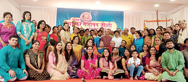 Madhukar Joshi and his large family of students, at his 80th birthday celebrations on December 23 in Dombivli