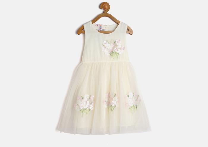 Cream Floral Applique Fit & Flare Dress
