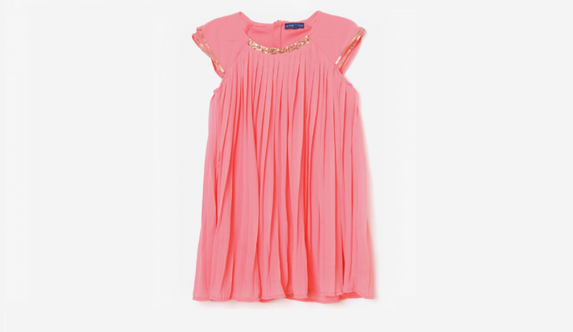 Pink pleated sequin embellished dress
