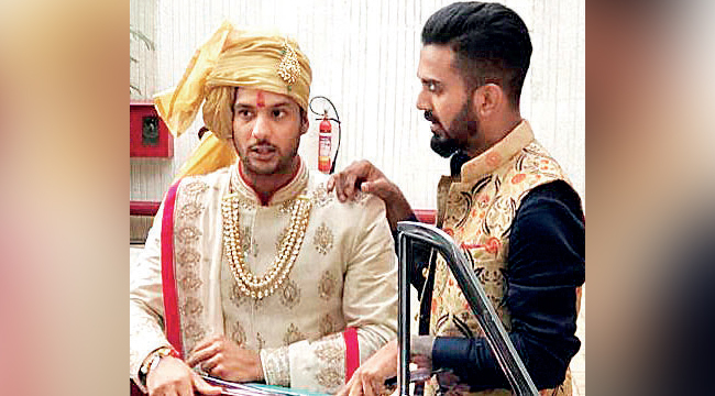 KL Rahul and Mayank Agarwal at the latter's wedding in February