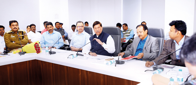 An indication of book censorship was heard at a meet on Friday, attended by (inset, L-R from centre) guardian minister Bapat, social justice minister Badole, c collector Ram, and others