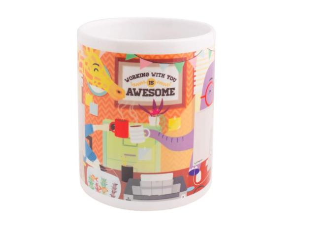A coffee mug with a message