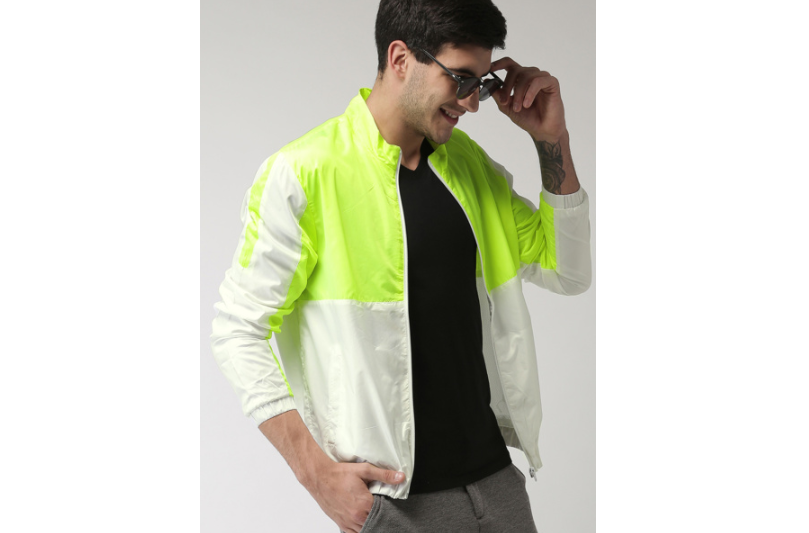 Fluorescent Green Colour Blocked Casual Jacket