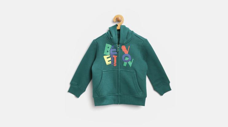Boys Green Printed Hooded Sweatshirt