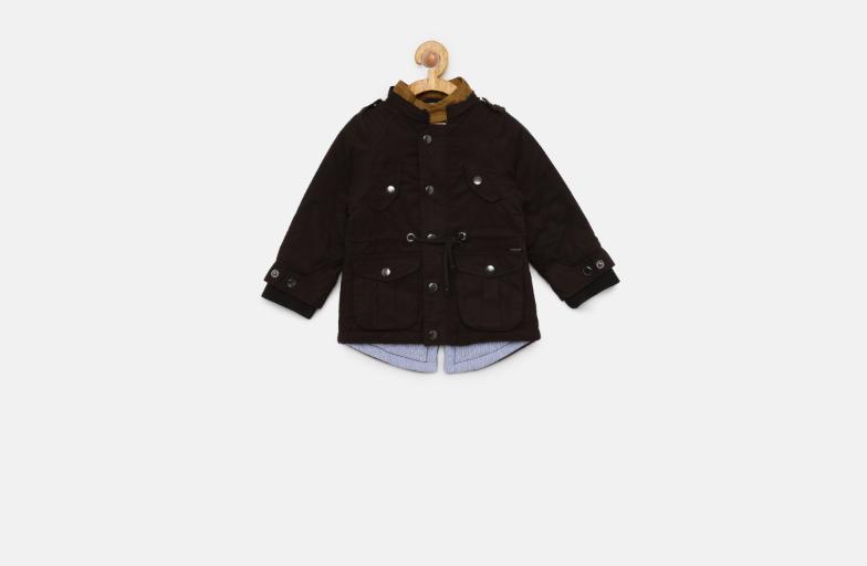 Boys Black Solid Jacket