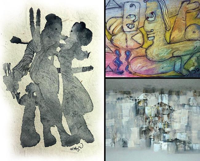An artwork by Nachiket Patwardhan; A painting by Jayant B Joshi; Deepak Sonar's abstract artwork