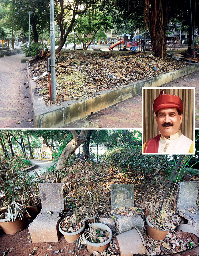 (Top) Almeida Park in Bandra and (above) Cooperage Garden in Colaba are among the open spaces that have been left abandoned; (inset) Yashwant Jadhav