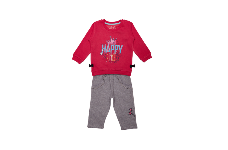 Girls Red Solid Tracksuit