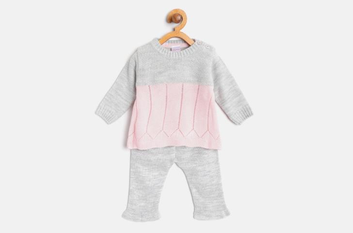 Grey Melange & Pink Colour blocked Sweater with Pyjamas