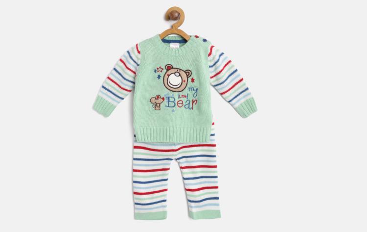 Kids Green Self Design Sweater with Pyjamas