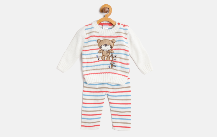 Kids Off-White & Red Striped Sweater with Pyjamas