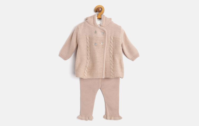 Girls Beige Self Design Hooded Cardigan with Pyjamas