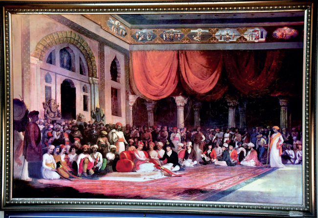 A copy of the original painting depicting the 1790 document exchanged at Ganapati Mahal, on display at Sarasbaug.