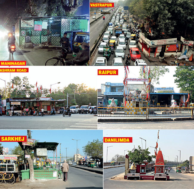 The roadside dargah outside Transstadia in Maninagar area which takes up major chunk of the road ; Lord Hanuman Temple outside the new campus of IIMA; Khodiyaar Mata temple in the traffic island on Ashram Road, Mount Carmel school; Jogani Mata temple in middle of BRTS lane, Raipur-Kalupur road; Dargah on the APMC-Sarkhej road; Hanuman temple on the service road of Chandranagar Flyover