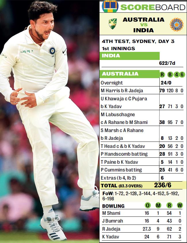 Left-arm wrist-spinner Kuldeep Yadav picked up 3/71 against Australia in the Sydney Test yesterday