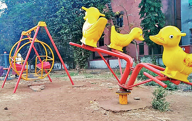 While equipment are still being installed at this newly opened garden, the existing ones — like the merry-go-round — is out of order