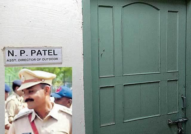 DySP N P Patel's (inset) cabin at Karai Academy was found locked on Sunday.