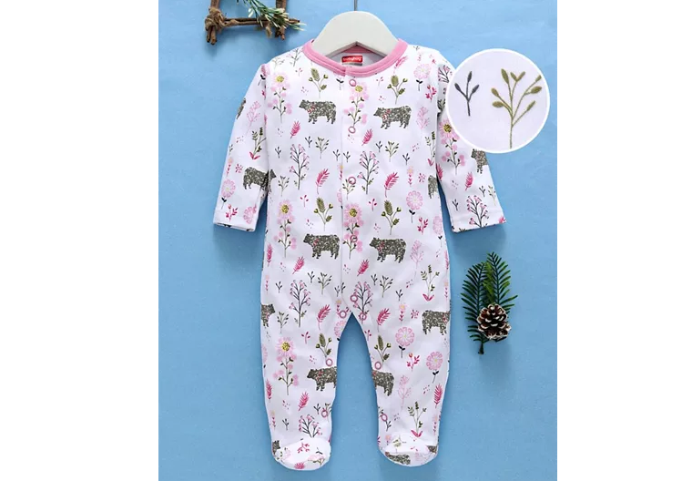 Cotton Sleepsuit with Space Print
