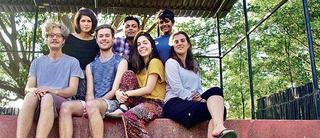 The Whilst Walking Touring group. L–R (front): Matteo Carpi, Niall Machin, Ainhoa Hevia Uria, Gina Batlle; (back) Julia Proglhof, Vivek Kumar, Titas Dutta