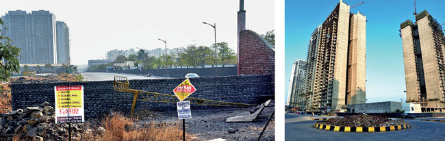 The developer has erected a wall on the road connecting Ubale Nagar to Kharadi