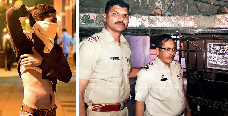 Sundar Singh had recounted in August 2016 how the agent and doctors conned him. (Right) Cops outside his Diva house