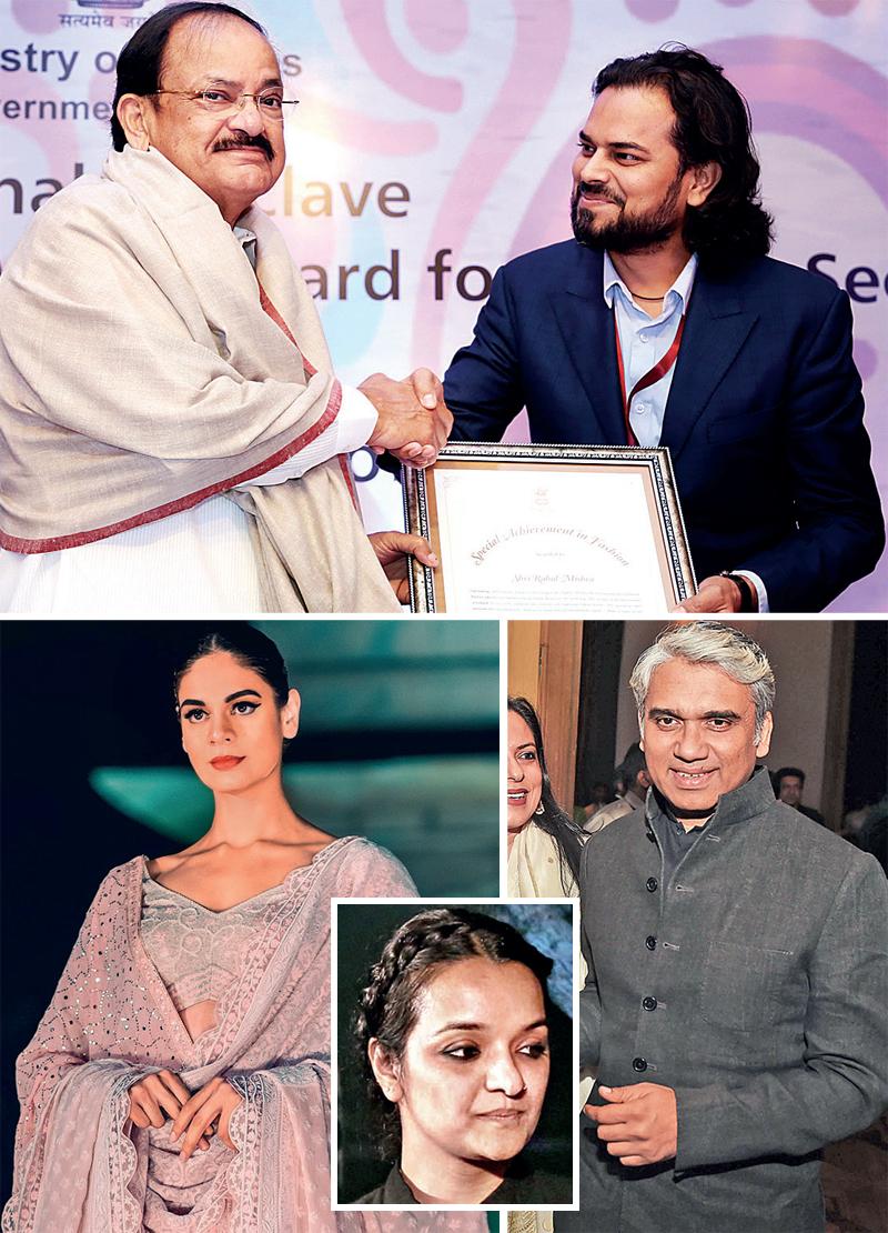Top: Vice President Venkaiah Naidu and Rahul Mishra; above: From Rahul Mishra's show; (inset) Aneeth Arora; (R) Rajesh Pratap Singh