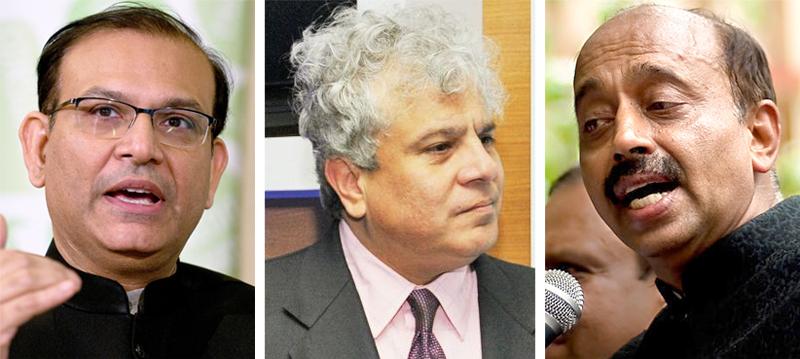 LtoR: Jayant Sinha, Suhel Seth and Vijay Goel
